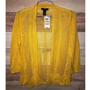 Alfani Yellow Wrap Long Sleeves Crochet Petites Sm